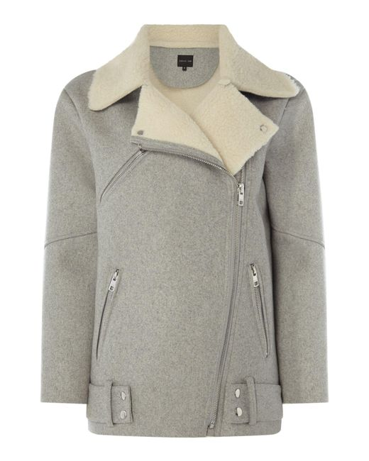 Label Lab | Gray Talin Faux Shearling Jacket | Lyst