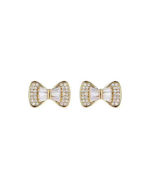 Mikey - Metallic Bow Design Baugette Cubic Stud Earring - Lyst