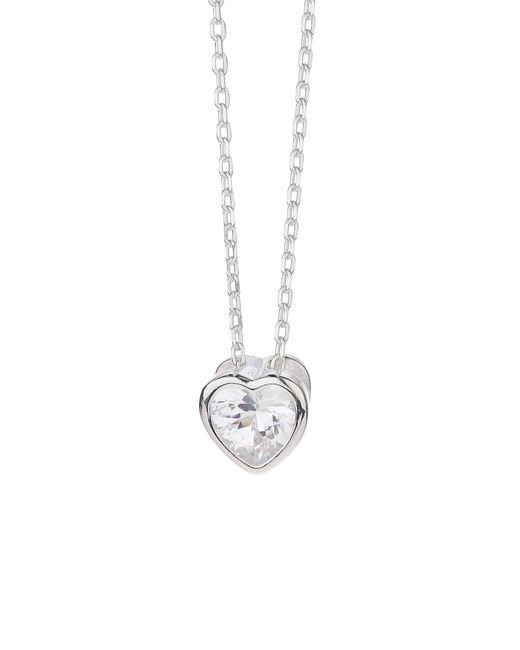 Mikey | Metallic Silver 925 Embed Heart Design Pendant | Lyst