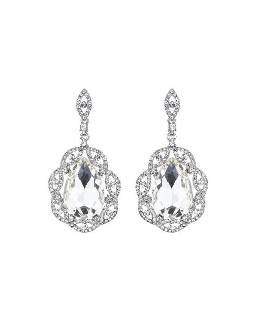 Mikey | Metallic Oval Crystal Filigree Surround Earring | Lyst
