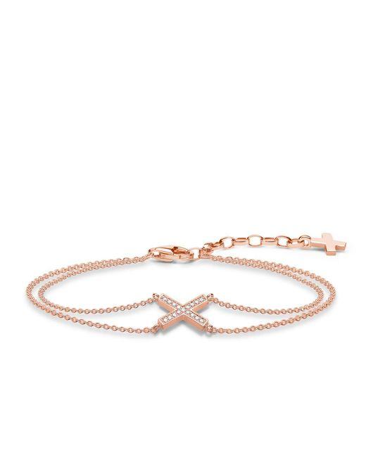 Thomas Sabo   White Classic X Rose Gold Zirconia Bracelet   Lyst