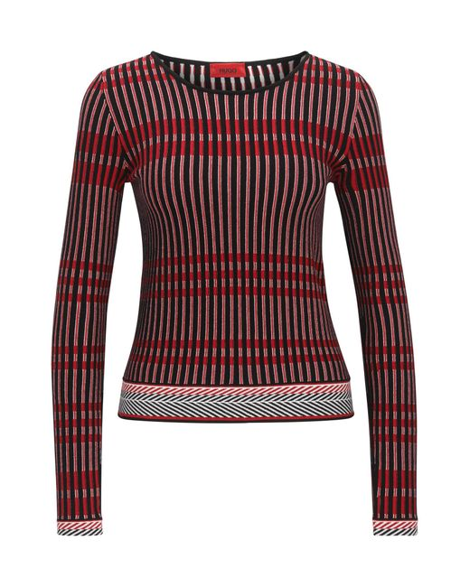 HUGO | Multicolor Slim-fit Sweater In Three-colour Jacquard | Lyst