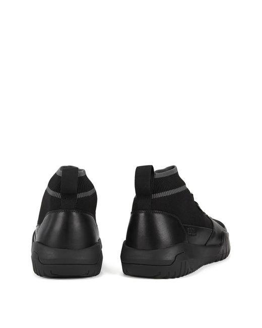 faa7aa0db13 ... BOSS - Black High-top Sock Sneakers With Calf-leather Trims for Men -