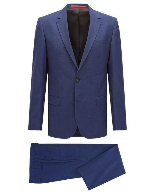 HUGO   Blue 'c-huge/c-genius'   Slim Fit, Nailhead Italian Extra-fine Virgin Wool Suit for Men   Lyst