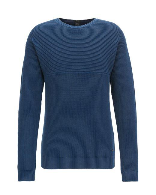 BOSS - Blue Reverse-knit Sweater In Pima Cotton for Men - Lyst