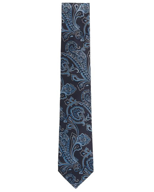 BOSS - Blue Paisley Embroidered Italian Silk Tie for Men - Lyst