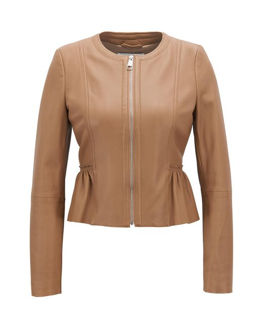 BOSS - Natural Peplum Jacket In Lambskin Nappa Leather - Lyst