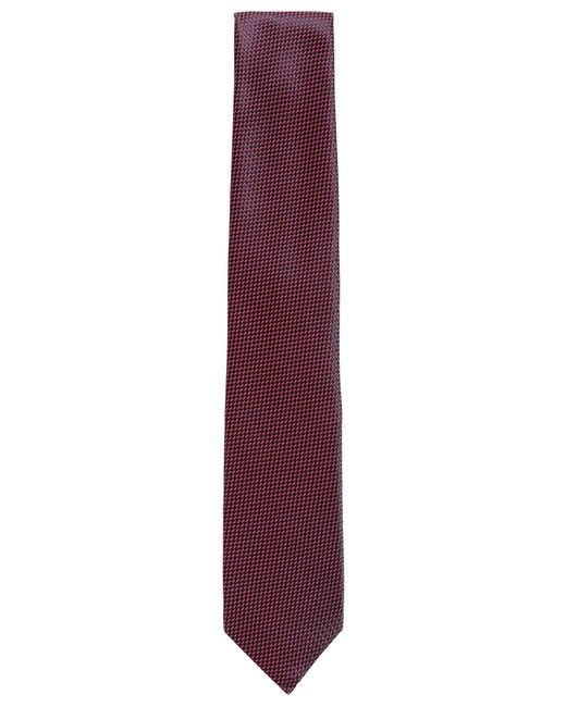 BOSS - Red Italian-made Tie In Micro-patterned Jacquard With Silk for Men - Lyst