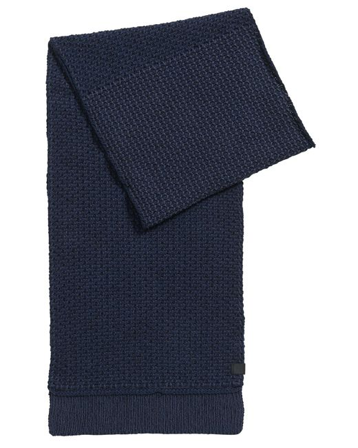 BOSS Orange | Blue Structured Scarf In Knitted Cotton for Men | Lyst