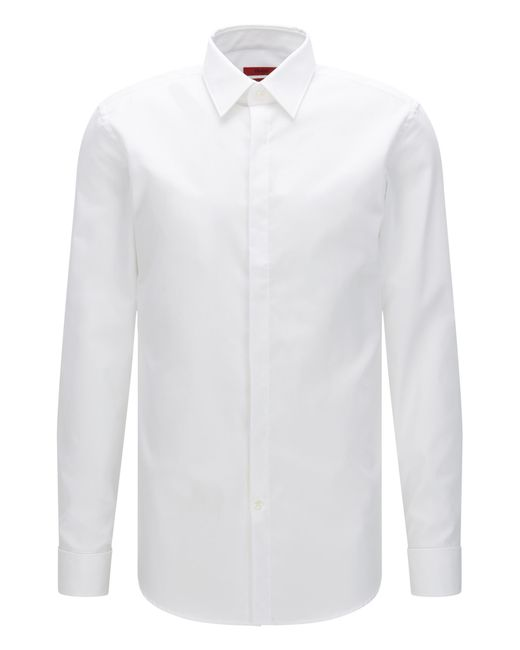 HUGO | White Slim-fit Shirt In Cotton With Turn-back Cuffs: 'c-ilias' for Men | Lyst
