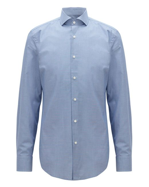BOSS - Blue Slim-fit Cotton Shirt With Two-color Houndstooth Pattern for Men - Lyst