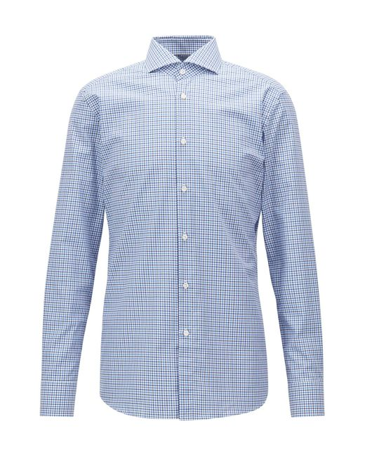 BOSS - Blue Tailored Slim-fit Shirt In Vichy Check Cotton Twill for Men - Lyst