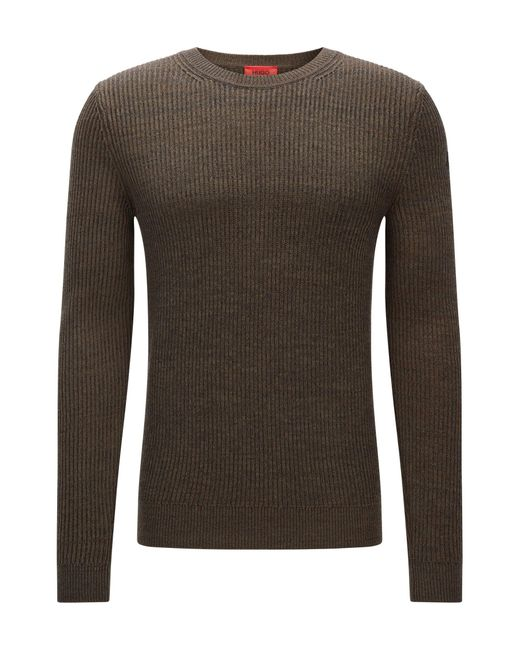 HUGO | Green Ribbed Sweater In Cotton And Wool for Men | Lyst