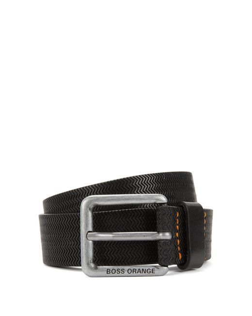 BOSS Orange | Black Embossed-leather Belt With Pin Buckle for Men | Lyst
