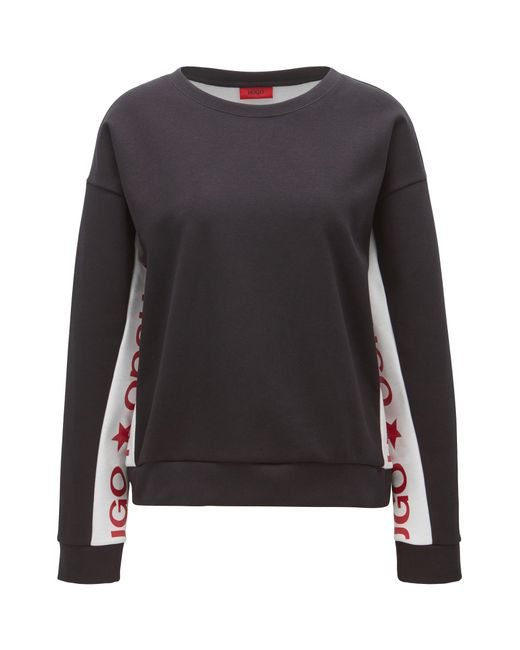 HUGO | Multicolor Cotton-blend Sweater With Contrast Inserts | Lyst