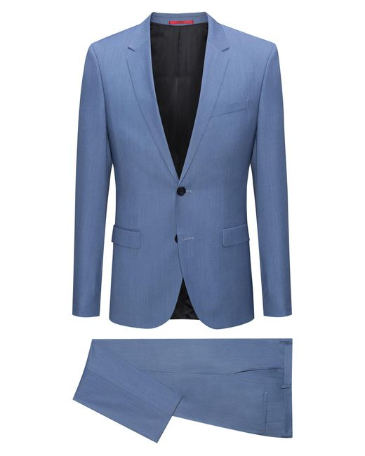 HUGO - Blue Extra-slim-fit Melange Virgin Wool Suit for Men - Lyst