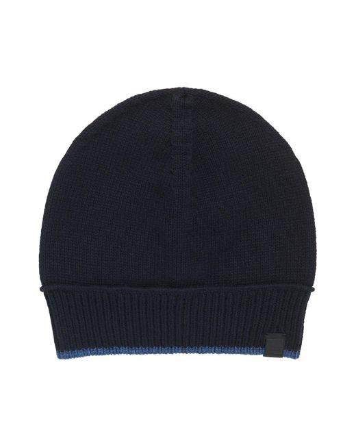 BOSS Orange | Blue Contrast-piped Hat In Italian Yarn for Men | Lyst