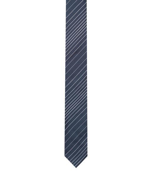 HUGO - Blue Silk-jacquard Tie With Diagonal Stripes for Men - Lyst