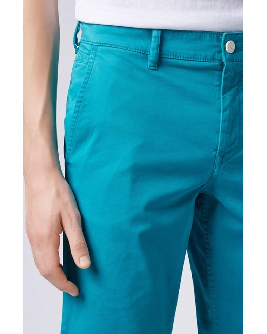 4145030d4 ... BOSS - Blue Slim-fit Chino Shorts In Double-dyed Stretch Satin for Men  ...