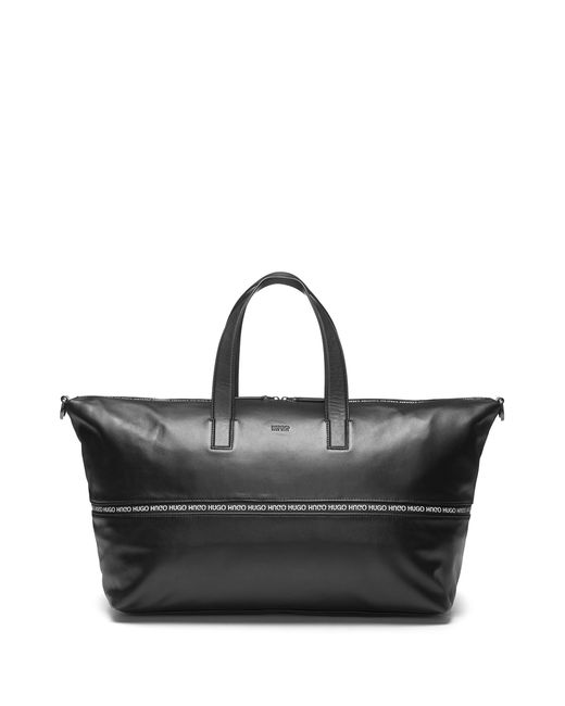 HUGO - Black Expandable Leather Holdall With Logo-trimmed Zipper for Men - Lyst