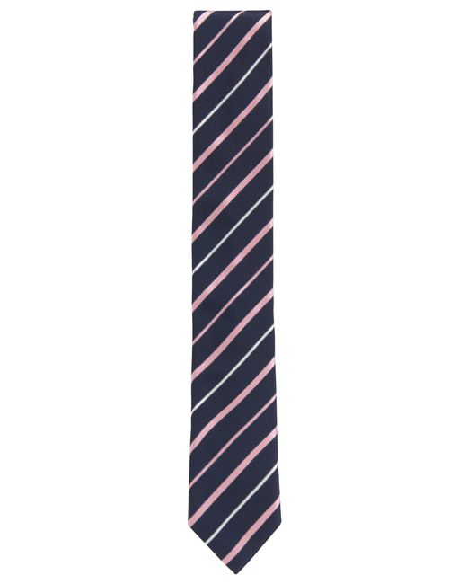 BOSS - Pink Striped Italian Silk Repp Slim Tie for Men - Lyst