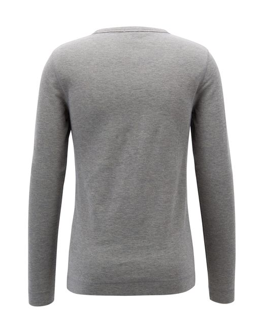25d853aaa ... BOSS - Gray Slim-fit Henley T-shirt In Heather Waffle Cotton for Men ...