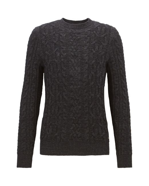 BOSS Orange | Black Cable-knit Sweater In A Cotton Blend for Men | Lyst