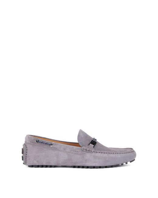 BOSS - Gray Italian-made Suede Moccasins With Woven Cord for Men - Lyst