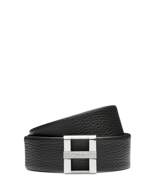 HUGO - Black Belt In Grained Leather With Signature Metal Buckle - Lyst