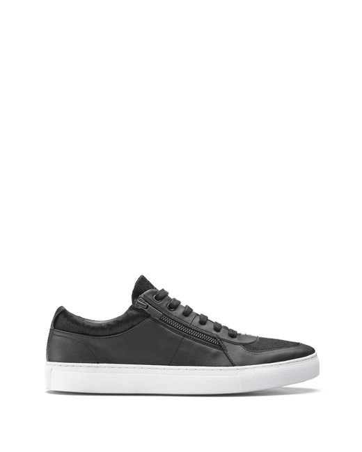 HUGO - Black Low-top Trainers In Calf Fur And Faux Leather for Men - Lyst