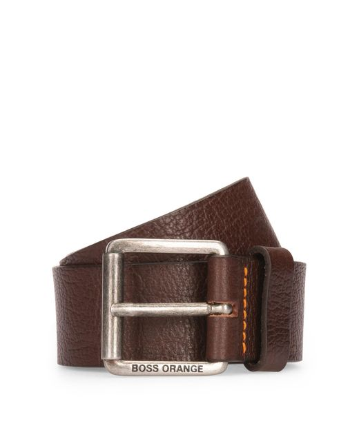 BOSS Orange | Brown Grained-leather Belt With Roller Buckle for Men | Lyst