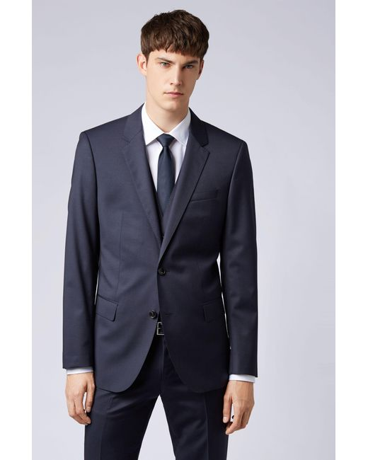 708135eac ... BOSS - Blue Slim-fit Jacket In Virgin Wool for Men - Lyst ...