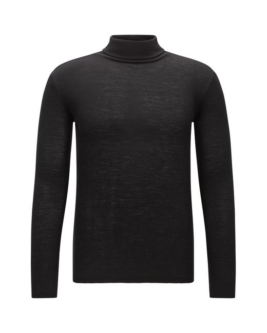 HUGO | Black Turtle-neck Sweater In Pure Wool | Lyst