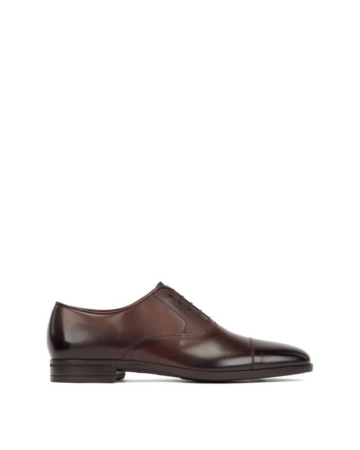 BOSS Brown Burnished Leather Oxford Shoes With Monogram Eming for men