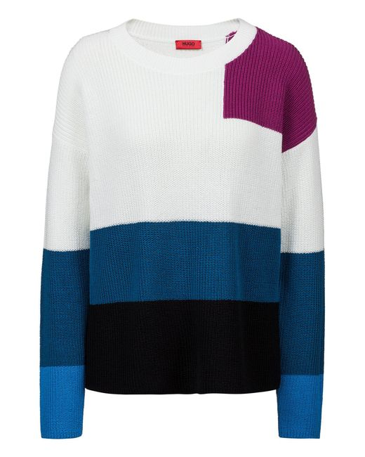HUGO - Blue Oversized-fit Sweater In Knitted Colour-block Cotton - Lyst