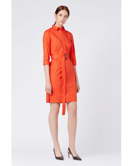 05f8cb048 ... BOSS - Red Belted Shirt Dress In Stretch Cotton With Point Collar -  Lyst ...