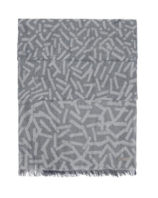BOSS Orange | Gray Patterned Jacquard Scarf In A Cotton Blend for Men | Lyst