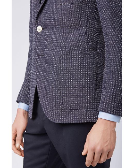 3d31d01a ... BOSS - Blue Micro-patterned Extra-slim-fit Jacket With Patch Pockets  for ...