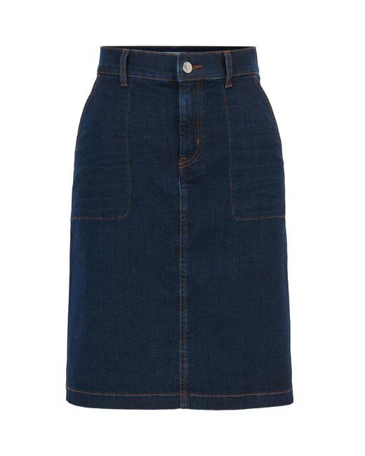 BOSS - Blue Denim Skirt   Nedime - Lyst