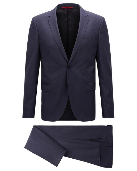HUGO | Blue Extra-slim-fit Suit In Mélange Virgin Wool for Men | Lyst