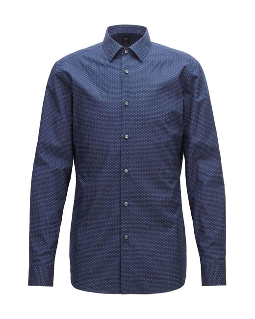 BOSS - Blue Tailored Slim-fit Shirt In Micro-patterned Italian Cotton for Men - Lyst