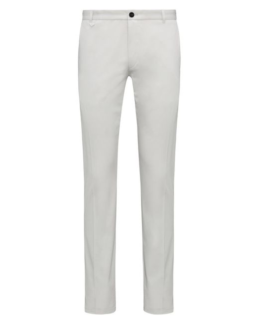 HUGO - Gray Extra-slim-fit Stretch-cotton Trousers With Signature Detailing for Men - Lyst