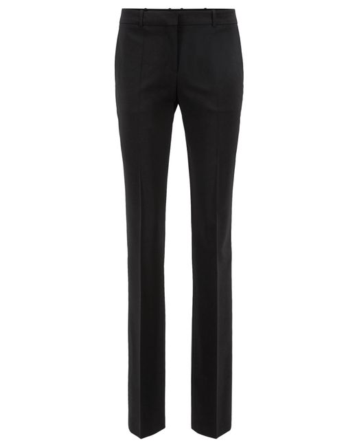 BOSS Black Straight-leg Business Trousers In Stretch Wool