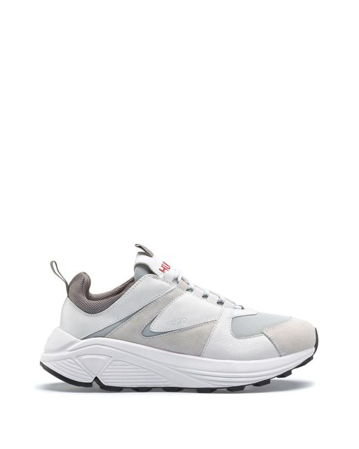 HUGO - White Chunky Running-style Sneakers In Mesh, Suede And Leather - Lyst