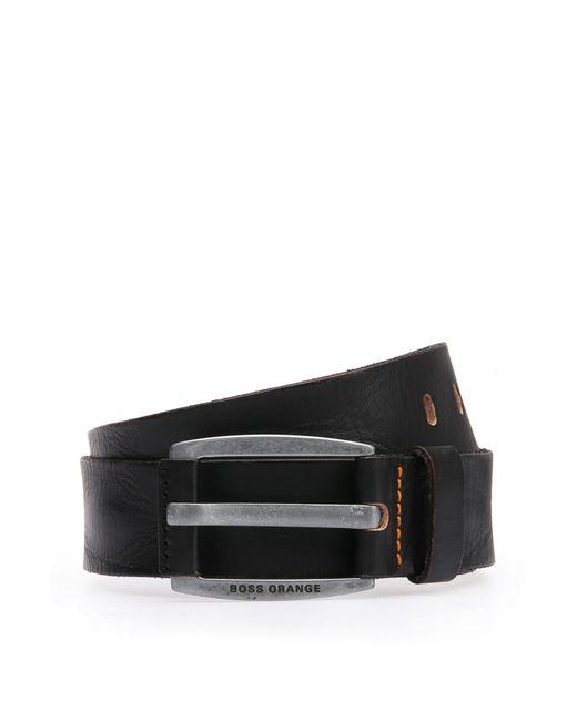 BOSS Orange | Black Leather Belt With Vintage-inspired Buckle for Men | Lyst