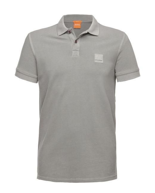 BOSS Orange | Gray Slim-fit Polo Shirt In Washed Cotton for Men | Lyst