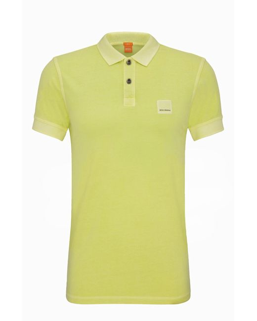 BOSS Orange | Yellow Slim-fit Polo Shirt In Washed Cotton By for Men | Lyst