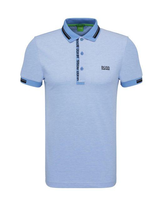 BOSS Green | Blue Polo Shirt 'paule 4' In Cotton Piqué for Men | Lyst
