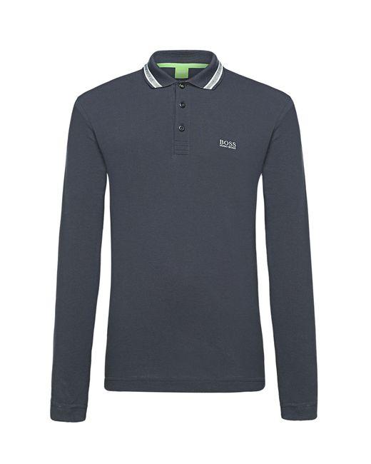 BOSS Green | Blue Long-sleeved Polo Shirt In Cotton Piqué: 'plisy' for Men | Lyst
