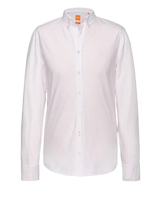 BOSS Orange | White Slim-fit Shirt With Reverse Cuffs And Collar By for Men | Lyst